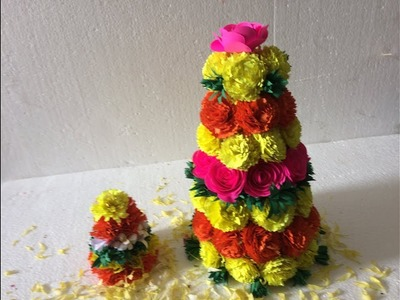 How to Make BATHUKAMMA with Paper Flowers - DIY || *EASY & SIMPLE*||