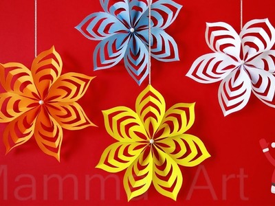 How to make beautiful paper decoration 3D snowflake for Christmas| Wall Hanging Decoration snowflake