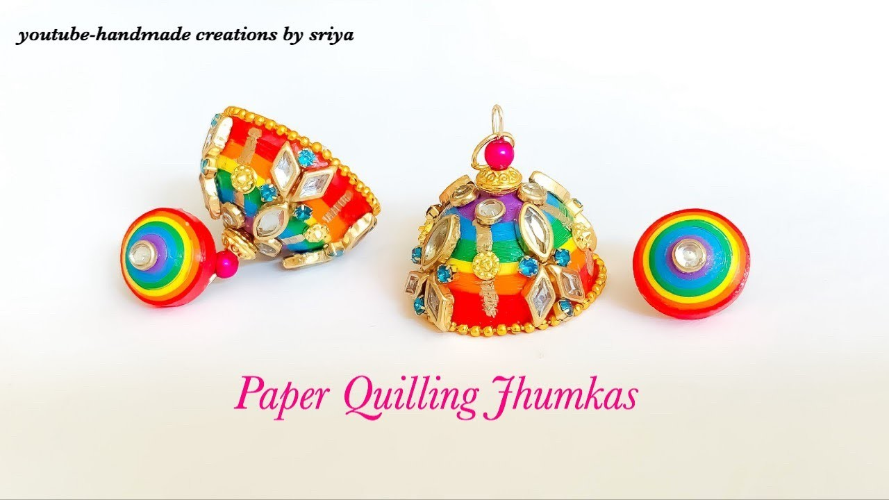 How To make Multicolour Jhumkas ||Paper Quilling Jhumkas Rainbow Colors||Colorful Jhumkas