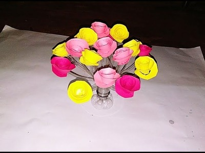 Make a beautiful flower pot with waste plastic bottle. DIY paper flowers craft ideas