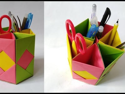 How to make an origami pen/pencil holder - easy origami - DIY ... | 300x400