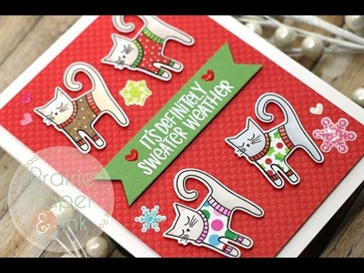Paper Pieced Cat Sweaters Card | AmyR 2018 Christmas Card Series #11