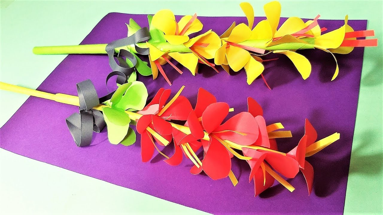 Stick Paper Flower How To Make Flowers With Paper Easy Beautiful