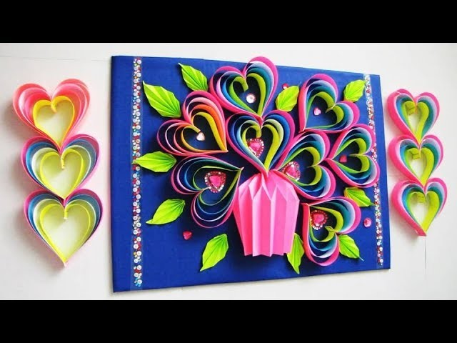 Wall Decoration Ideas | Beautiful Wall Hanging Making at Home | Paper Flower Wall Hanging н5