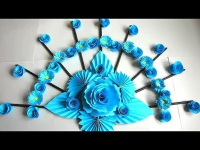 Wall Decoration Ideas | Beautiful Wall Hanging Making at Home | Paper Flower Wall Hanging. 112