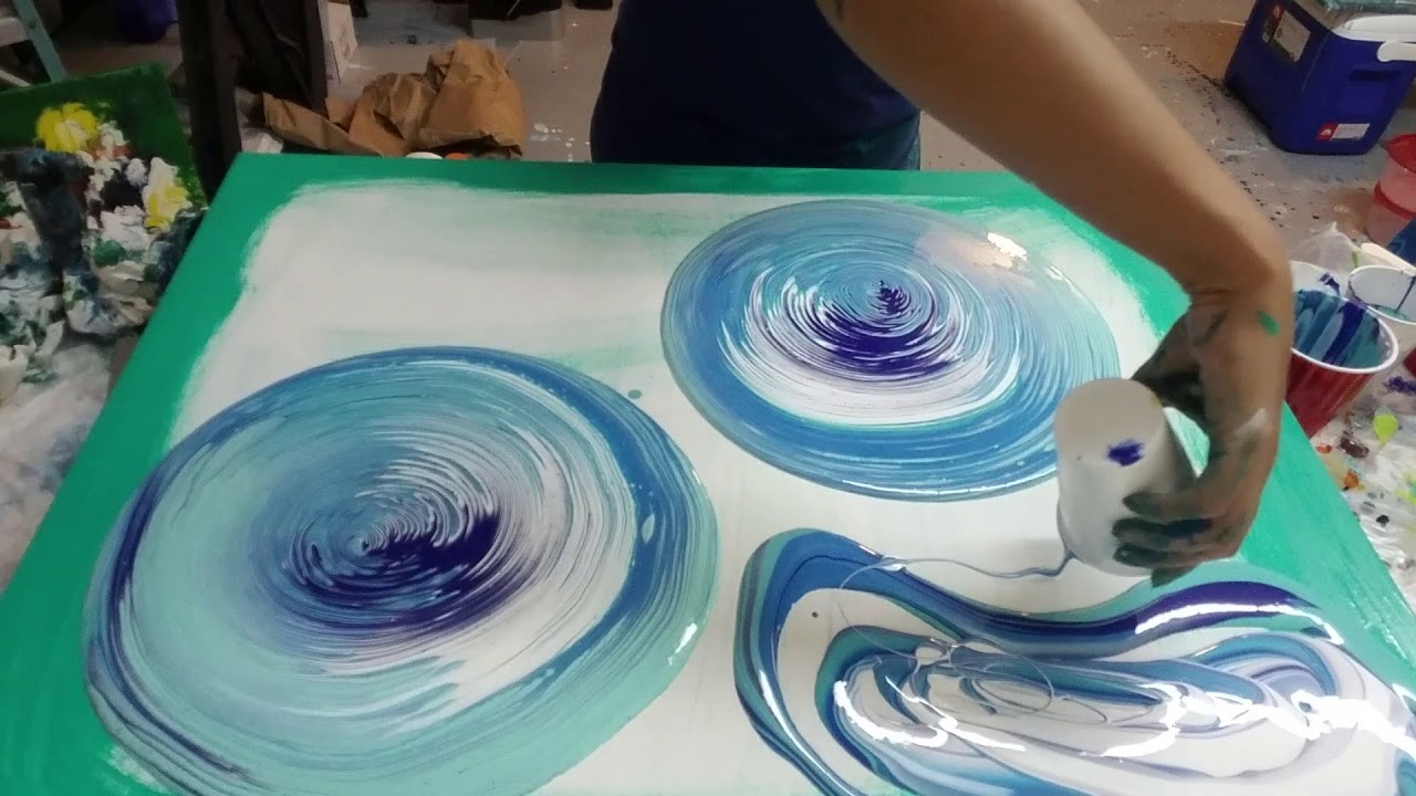 (24) Double ring pour. Acrylic pouring Fluid art, aqua and blue acrylic paint flow art pour painting