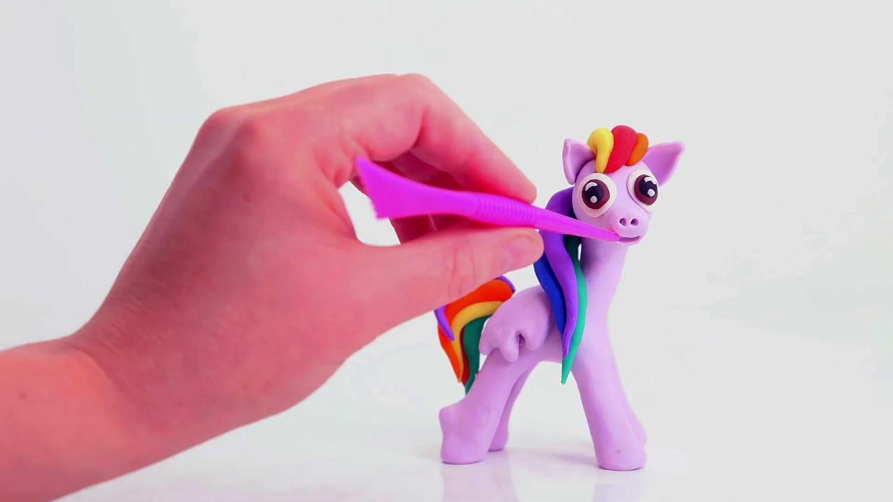 Baby Rainbow pony ???? Superhero Play Doh Stop motion cartoons