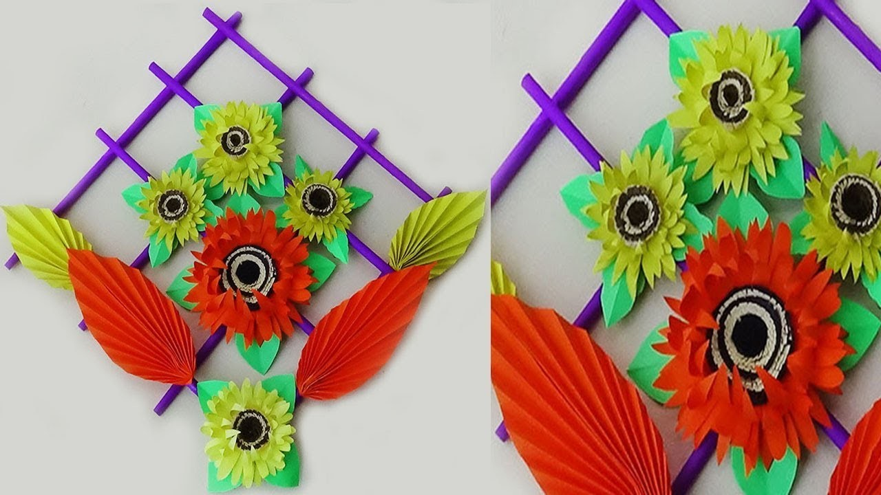 Beautiful Paper Flower Wall Hanging Craft Ideas | DIY Room Decor 2019 | Wall Hanging Making at Home