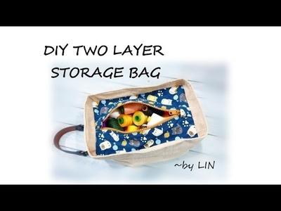DIY BAG IDEAS ~ TWO LAYER STORAGE BAG #HandyMum