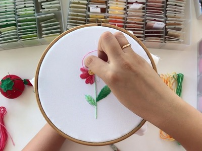 Floral embroidery time lapse - multi colored thread