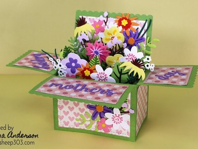 Funky Florals Mother's Day Pop-Up Box Card with Tim Holtz & Lawn Fawn Dies