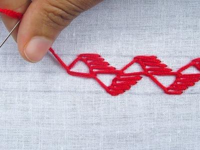 Hand Embroidery, Basic Embroidery Tutorial for Beginner, Easy Border Design