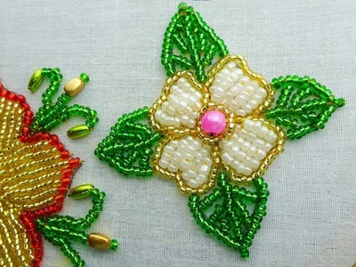 Hand embroidery beads flower design tutorial,beads work for dress