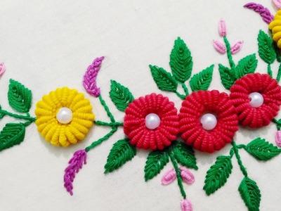 Hand Embroidery - Ring Bullion Knot Stitch.