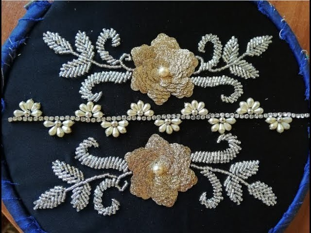 Hand embroidery with beads and pearl beautiful flower