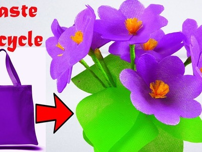 Handmade Beautiful Violet flowers With Fabric Bags   How To Make Flower Bouquet Using Shopping Bags