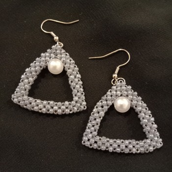 Handmade Grey Triangle White Pearl Earrings