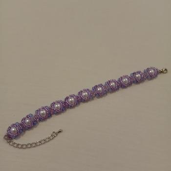 Handmade White Pearl Purple Bracelet