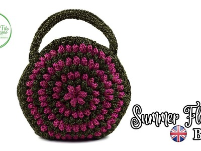 How to crochet a flower bag with popcorn stitch