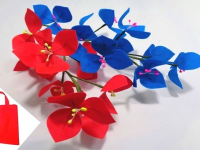 How to Make Blue & Red Shopping Bag Flowers || Making Carry Bag Flowers || DIY Shopping Bag Flowers