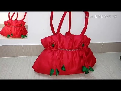 How to make cloth bag at home.in Hindi. handbag with old cloth in ten minutes.fabric cloth step by s