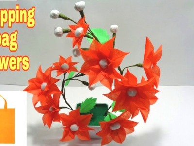 How to Make Shopping Bag flowers  - DIY Making Shopping Bag Flowers - Best out of Waste idea