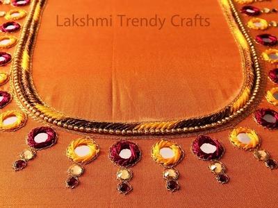 Mirror and Kundan work blouse design - Simple Aari.Maggam Work