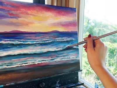 Painting a Sunset Beach with acrylic paints