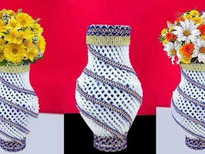 Plastic Bottle Flower Vase with Apple foam Net | How to Make a Homemade Flower Vase