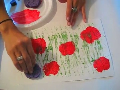 Poppy Field Printing: A Toddler.Preschool Art Lesson