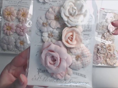 Prima Marketing lavender frost 12x12 paper pad and flowers