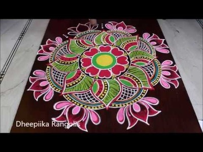 Sankranthi special rangoli design with colours * pongal special kolam 2019 new year rangolis