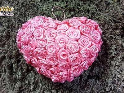 Satin Rose Heart Pillow | Heart Gift for Valentines Day!