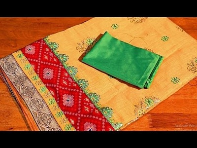 Silk cotton saree model blouse easy method for beginners