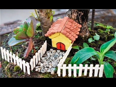 2 DIY Easy and Beautiful Fairy Garden Decor Ideas with Popsicle Sticks or Ice cream Sticks Crafts