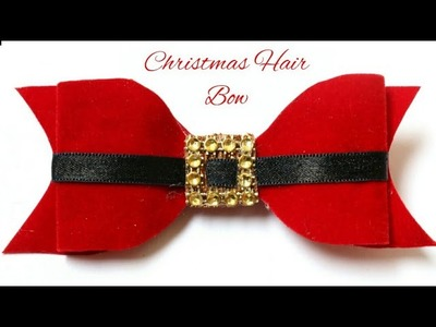 Christmas Hair Bow | Santa Claus Bow| Red Velvet Bow| DIY Hair Clip For Kids | #Bow
