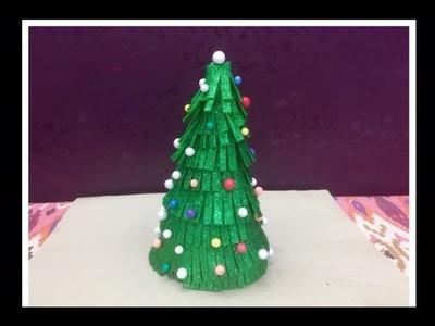 Christmas Tree Making.Christmas Tree from Glitter Foam Sheet.Christmas Tree Decoration for Kids