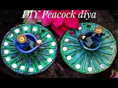 Diwali.Festive  Decor Ideas 2018- DIY Peacock Diya