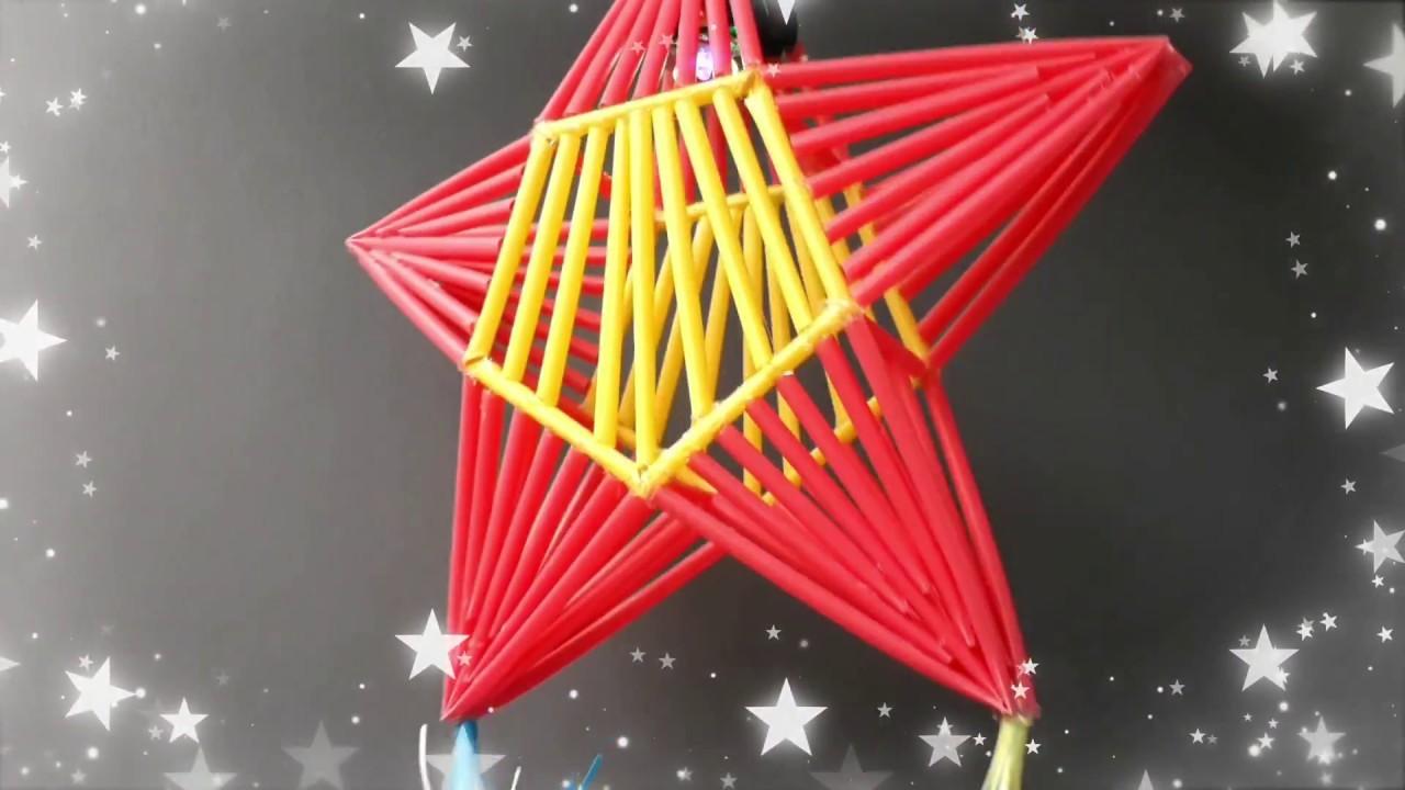 DIY Christmas Decorations from Plastic Straws - Parol straw lights