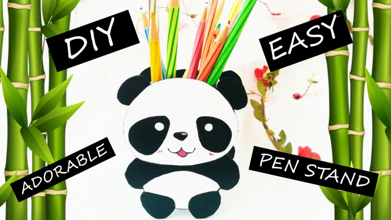 DIY Cute Panda Pen Stand Easy Handmade Gift for kids desk decor ideas