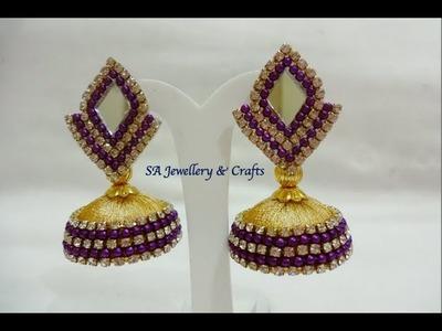 DIY Designer Jhumka earring. How to make Silk thread Jhumka at home