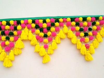 DIY - Door Toran Making From Woolen. Beautiful Woolen Crafts. Woolen Door Toran