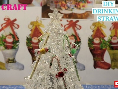 DIY- DRINKING STRAW CHRISTMAS TREE CANDY CANE DECORS