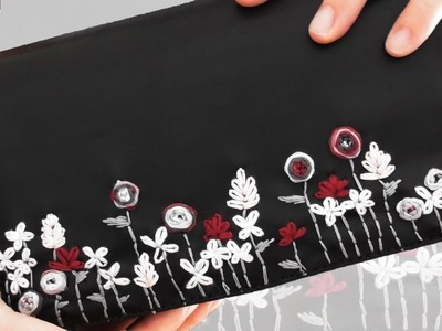 DIY: floral embroidered clutch bag FROM SCRATCH!!!