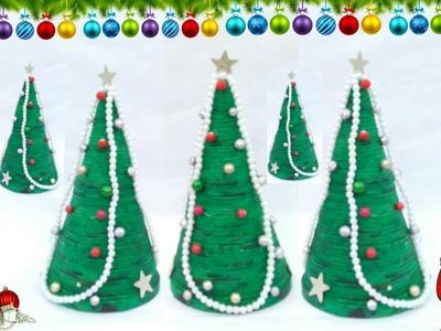Diy newspaper Christmas tree | table top Christmas tree making | Christmas tree | newspaper craft