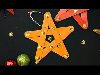 DIY One Minute Star Ornaments | Easy Christmas Tree Ornaments from Popsicle Sticks #christmasdecor