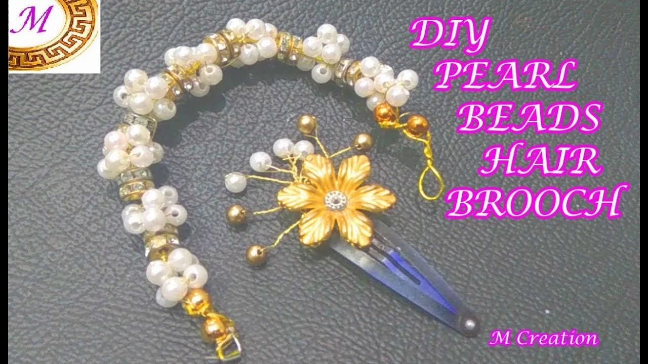DIY pearl beads hair brooch.how to make hair brooch