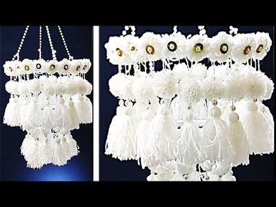 DIY Woolen jhumar. Three Layered Wool Chandlier. Best out of Wool 1
