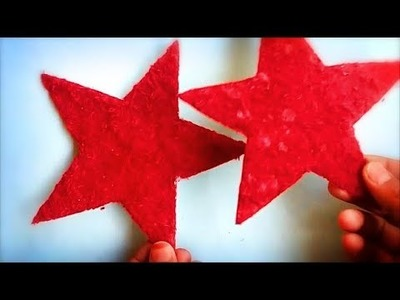 DIY woolen.yarn hanging Christmas star | New year party decoration star | Cardboard crafts