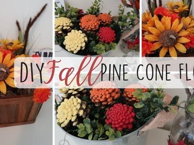 Dollar Tree DIY   Fall Pine Cone DIY Floral Decor   Pine Cone Flowers   Fall DIY  